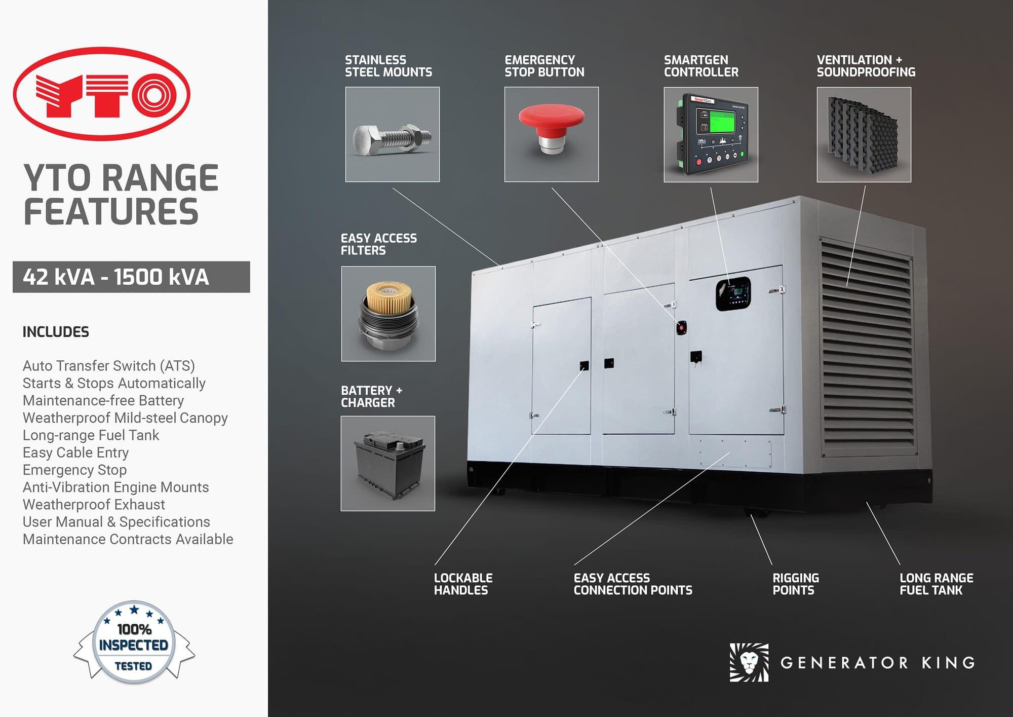Diesel Generator for Sale | YTO Generators Features | Generator King